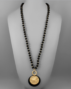 Black Disc Layered Necklace