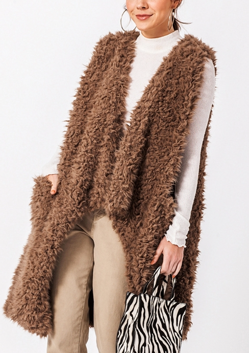 Toffee Faux Fur Vest