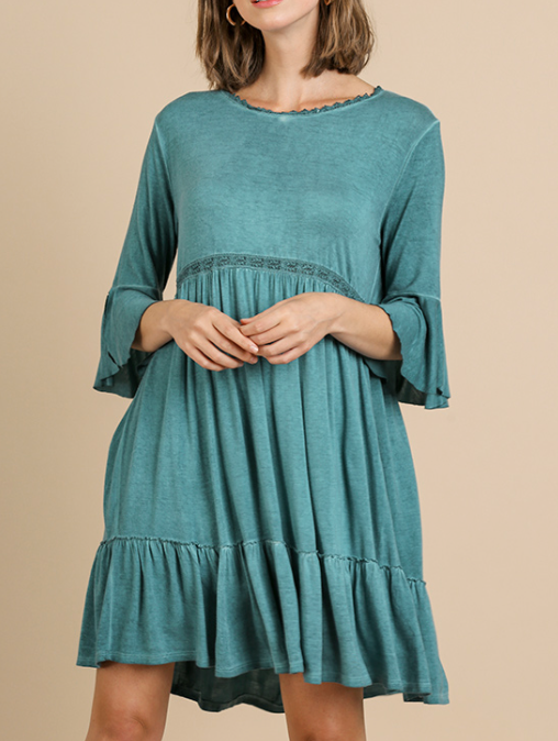 Peacock Bell Sleeve Dress