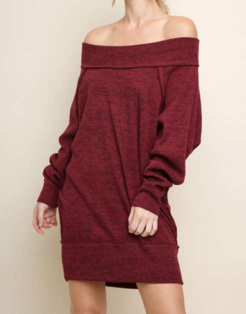 Burgundy Off Shoulder Dress