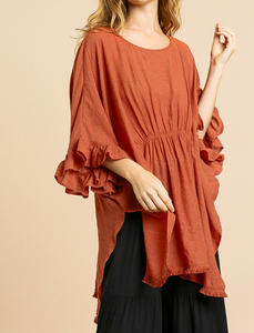 Terracotta Ruffle Sleeve Tunic