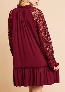 Burgundy Floral/Sheer Lace Sleeve Dress