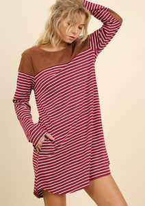 Wine/Cream Striped Dress