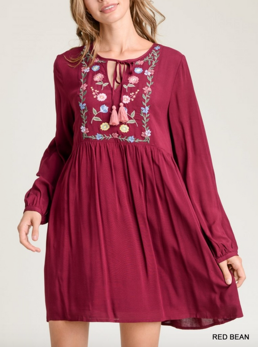 Red Bean BabyDoll Embroidered Dress