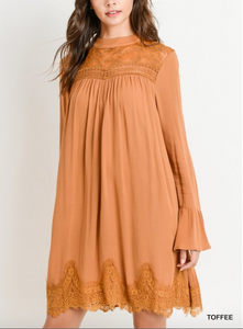 Toffee Long Bell Sleeve Dress