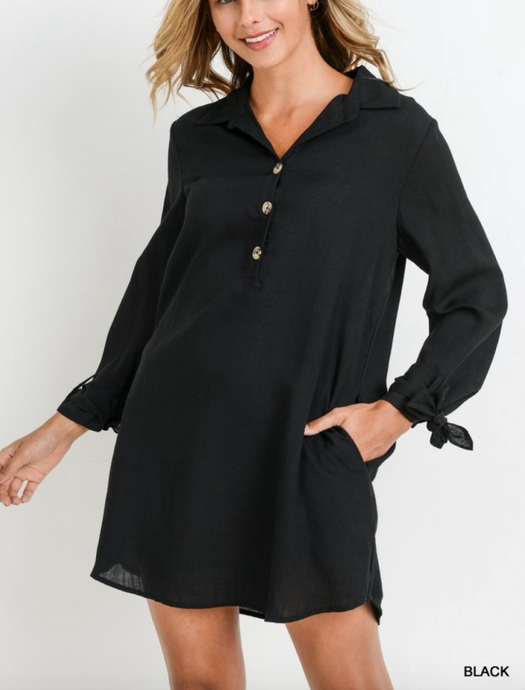 Black Button Up Collared Dress