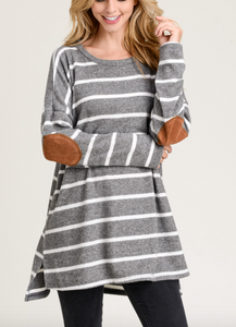 Charcoal Striped Tunic W/Elbow Patches