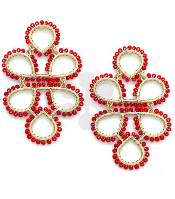 Red Infinity Knot Seed Bead Earrings