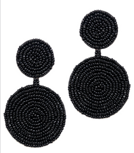 Black Seed Bead Disc Earrings