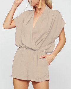 Taupe Woven Romper