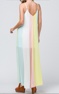 Color Block V Neck Maxi Dress