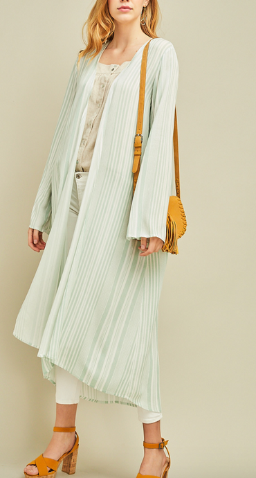 Sage Striped Duster