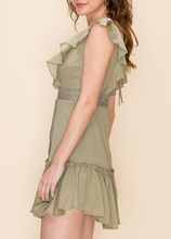 Light Olive Ruffle Dress
