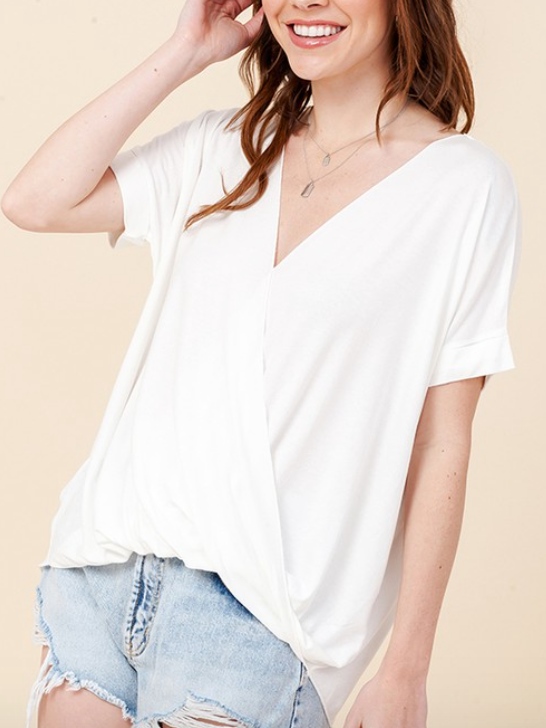 Off White Surplice Front Top