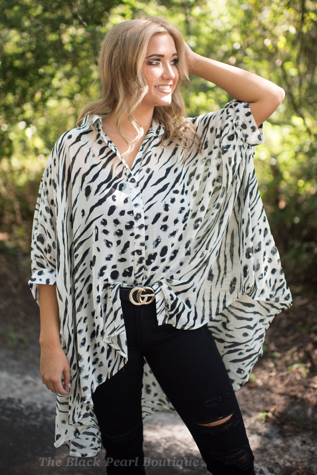 Oversized Animal Print Gather Blouse