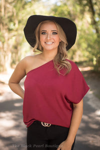 Burgundy Satin One Shoulder Blouse