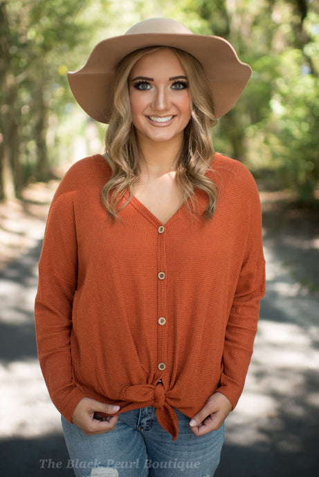 Rust Knit Button Down Top