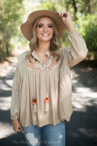 Taupe Babydoll Embroidered Blouse