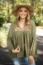 Olive Babydoll Embroidered Blouse