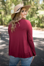 Burgundy Cut Out Neck Top