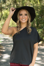 Black Satin One Shoulder Blouse