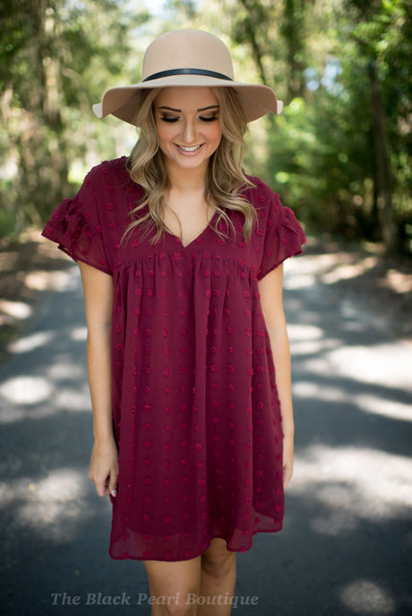 Burgundy Dotted Swiss Dress