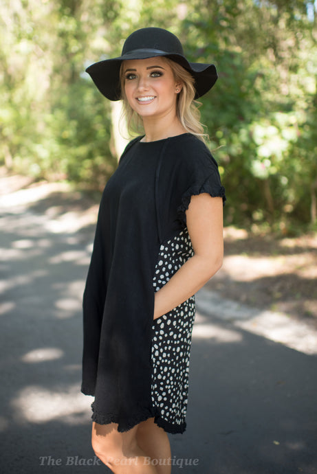 Black Dalmatian Print Back Dress