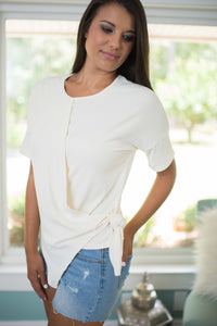 Cream Front Tie Top