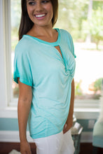 Aqua Twisted Knot Top
