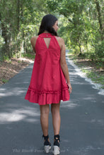 Red Smocked Neckline Dress