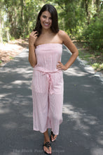 Red/White Striped Strapeless Jumpsuit