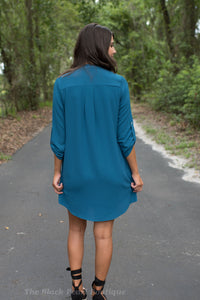 Teal V-Neck Dress