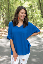 Royal Blue Solid Pocket Tee