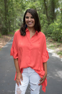 Orange Ruffled Button Down Top