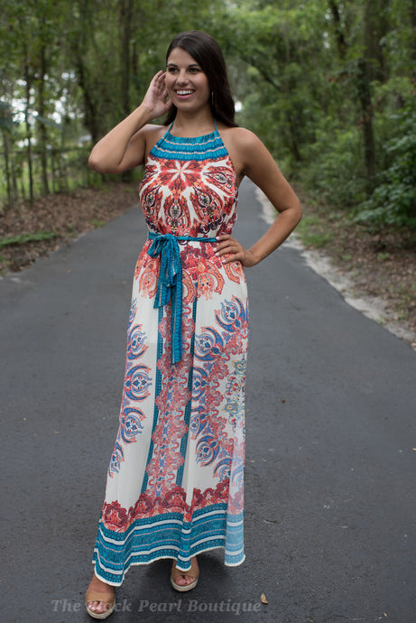 Ivory Printed Halter Maxi