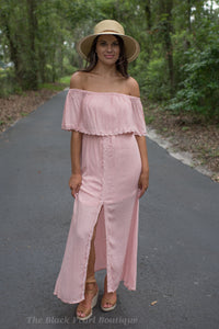 Pink Ruffled Off Shoulder Maxi