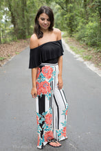 Ivory Palazzo Pants With Floral Print