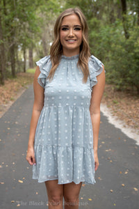Dusty Blue Swiss Dot Dress