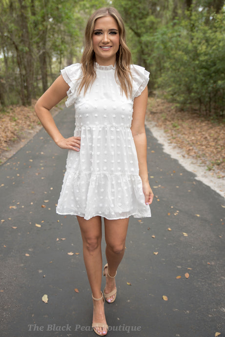 White Swiss Dot Dress