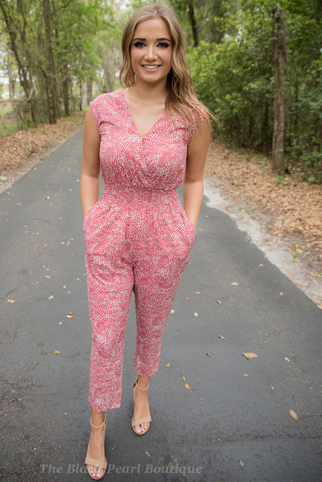 Marsala Dotted Print Jumpsuit