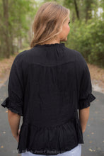 Black Linen Ruffle Blouse