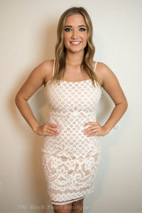 White/Nude Midi Lace Dress