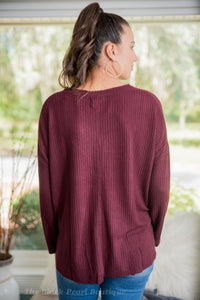 Burgundy Button Down Fleece Top