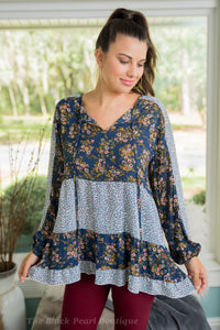 Navy Floral Print Peasant Blouse