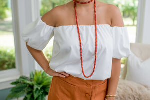 White Off The Shoulder Bubble Top