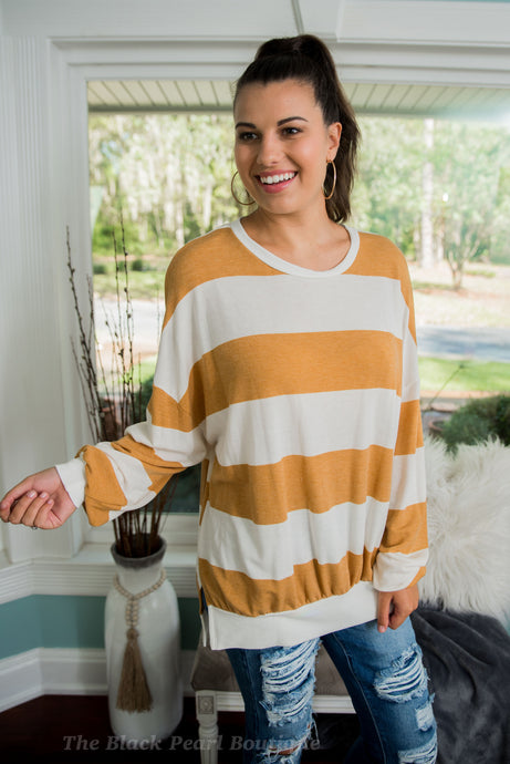 Mustard/White Striped Sweater