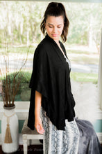 Black Ruffled Poncho Cardigan