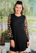 Black Dress W/ Leopard Sleeves