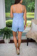 Blue/White Seersucker Romper