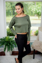 Olive Long Sleeve Crop Top
